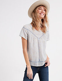Lucky Brand Printed Inset Lace Yoke Top