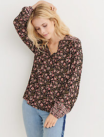 Lucky Brand Border Print Bell Sleeve Top