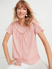 Lucky Brand Inset Lace Yoke Top