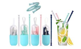 Foldable and Reusable Silicone Drinking Straw with