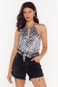 Nasty Gal Girl Like You Zebra Print Bodysuit