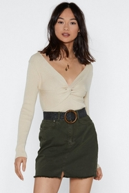 Nasty Gal Twist It Now Baby Knit Top