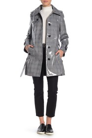 London Fog Plaid Water-Resistant Trench Coat