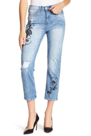 Seven7 Embroidered High Rise Straight Crop Jeans