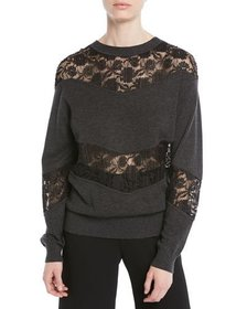 See by Chloe Crewneck Pullover Sweatshirt w/ Lace