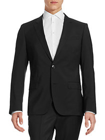 HUGO Pickstitched 2-Button Wool Jacket BLACK