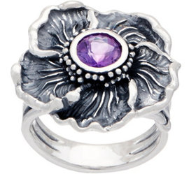 Or Paz Sterling Silver Gemstone Accent Flower Ring
