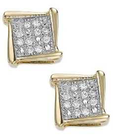 Diamond Accent Square Stud Earrings in 10k White,