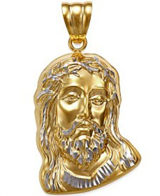 Men's Christ Head Pendant in 14k Yellow and White