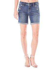 Nicole Miller Sailor-Button High-Rise Denim Shorts