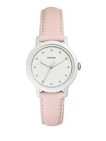 Fossil Neely Leather-Strap Watch PINK