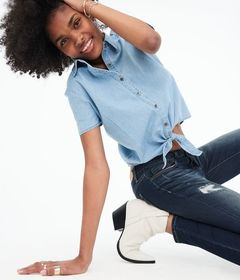 Aeropostale Chambray Tie-Front Woven Camp Shirt