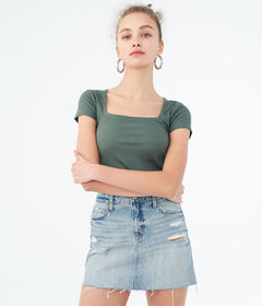Aeropostale Seriously Soft Solid Square-Neck Bodyc