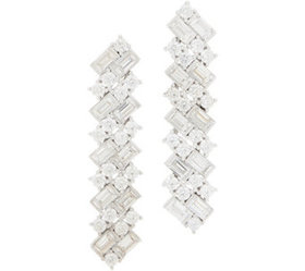 Diamonique Royal Collection Linear Earrings Sterli