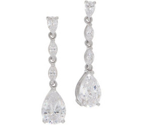 Diamonique Pear and Marquise Drop Earrings, Sterli
