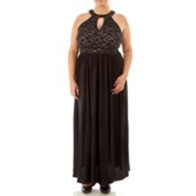 Plus Size Lacy Sequin Halter Dress with Keyhole