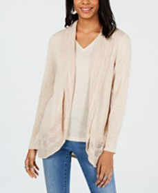 Style & Co Pointelle-Trim Cardigan, Created for Ma