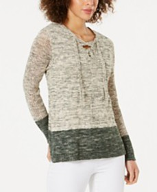 Style & Co Pointelle-Sleeve Lace-Up Sweater, Creat