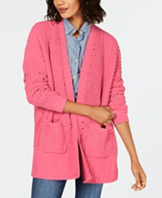 Style & Co Chenille Open-Front Cardigan, Created f