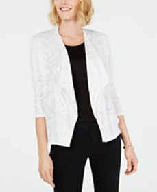 JM Collection Open Textured Flyaway Cardigan, Crea
