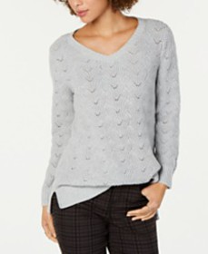 Style & Co Pointelle-Knit Tunic Sweater, Created f