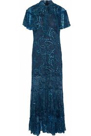 ANNA SUI Cape-effect embroidered silk-chiffon gown