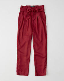 Belted Taper Pants, RED
