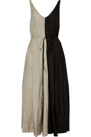 NINA RICCI Pleated two-tone crinkled shell maxi dr