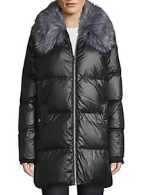 Sam Edelman Faux Fur-Trimmed Down Quilted Jacket B