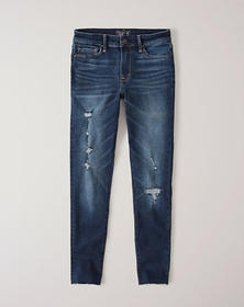 Ripped Low Rise Ankle Jeans, Ripped Dark Wash