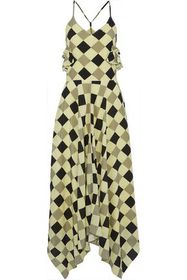 NINA RICCI Printed silk crepe de chine maxi dress