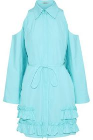 NINA RICCI Cold-shoulder ruffled cotton-poplin dre