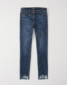 Low Rise Ankle Jeans, MEDIUM WASH