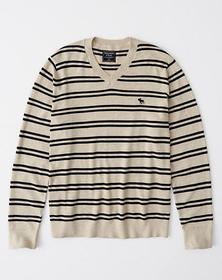 The A&F Icon V-Neck Sweater, CREAM STRIPE