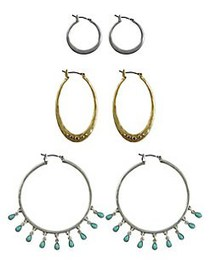 Lucky Brand Goldtone and Silvertone Beaded Triple