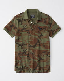 Stretch Exploded Icon Camo Polo, OLIVE GREEN CAMO