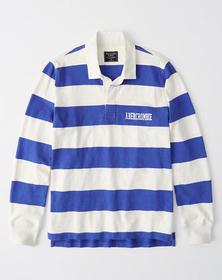 Graphic Logo Rugby Polo, BLUE STRIPE