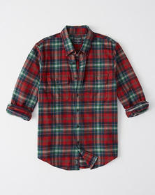 Flannel Shirt, RED AND GREEN PLAID