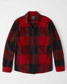 Flannel Shirt Jacket, RED CHECK