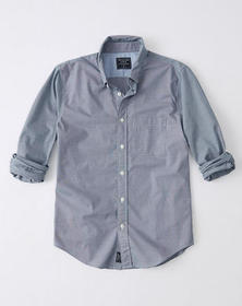 Micro Gingham Poplin Shirt, NAVY BLUE CHECK