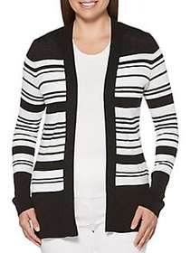Rafaella Striped Open Front Cardigan BLACK WHITE