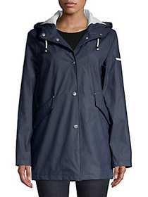 French Connection Snap Front Hooded Jacket NAVY