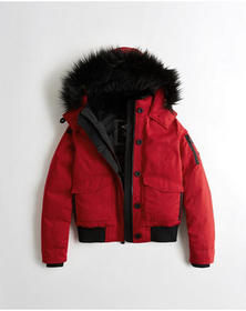 Hollister Down Hooded Bomber Jacket, RED