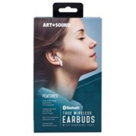ART AND SOUND White Wireless Bluetooth Earbuds