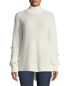 Neiman Marcus Pearly-Sleeve Mock-Neck High-Low Swe