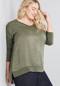 Needed Leisure Long Sleeve Tunic in Olive Green