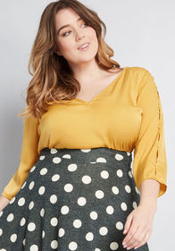 ModCloth Sincerely Yours V-Neck Blouse Yellow