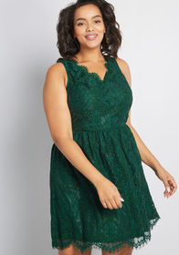 V-Neck Lace Fit and Flare Dress in Pine Green