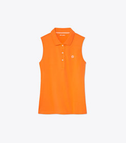 Tory Burch PERFORMANCE PIQUÉ SLEEVELESS POLO