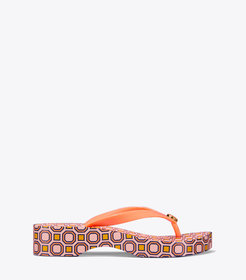 Tory Burch PRINTED CARVED WEDGE FLIP-FLOP